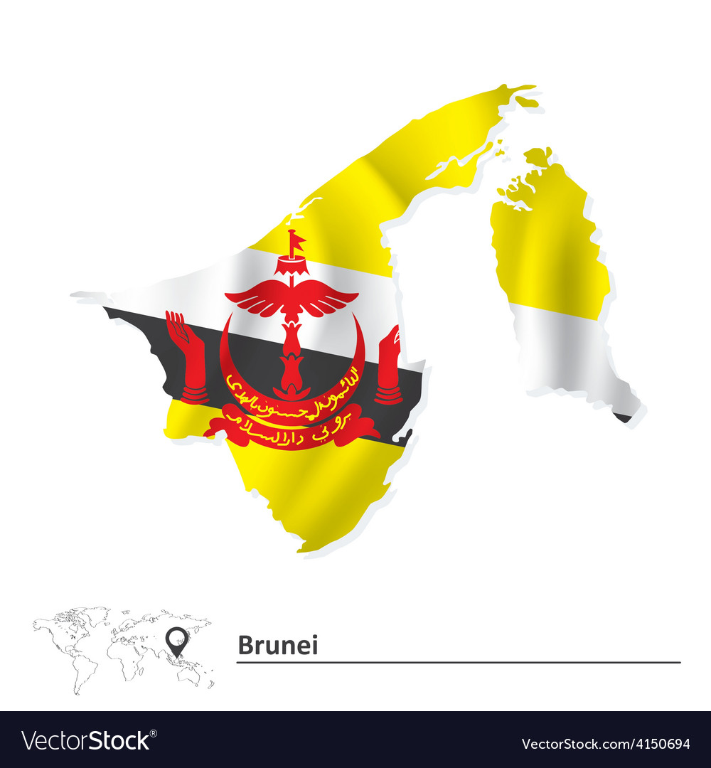 Map Of Brunei With Flag Royalty Free Vector Image