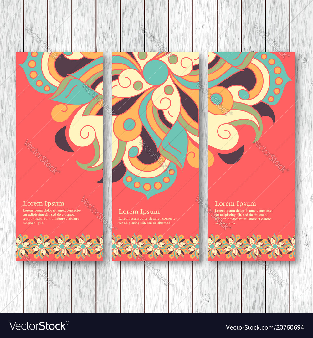Set of vertical banners flyers with mandala
