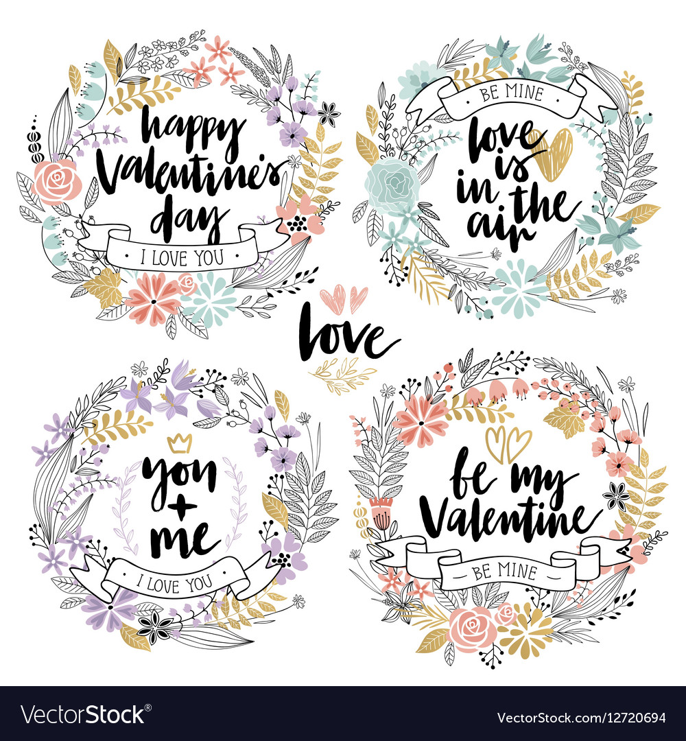 Valentines Day Callygraphic Floral set