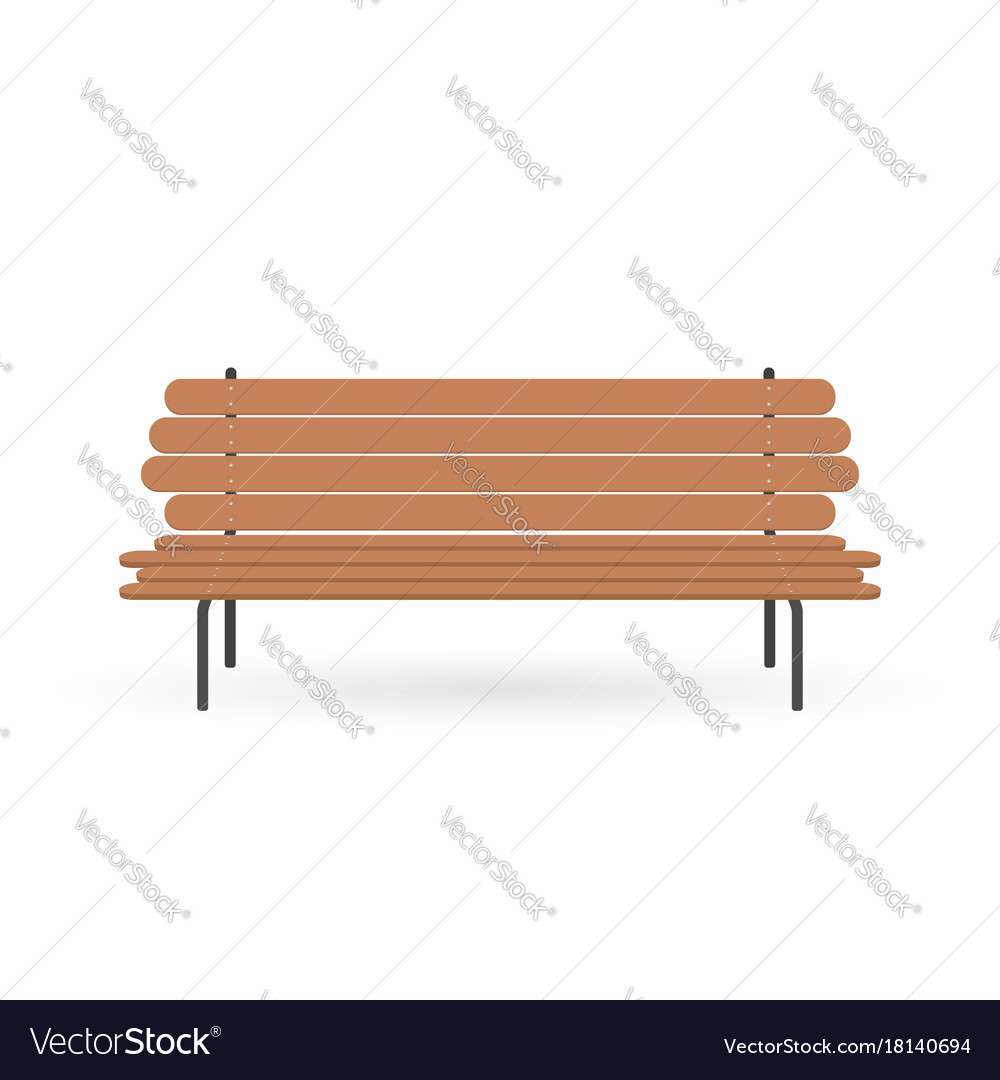 Wooden bench street brown bench isolated on white