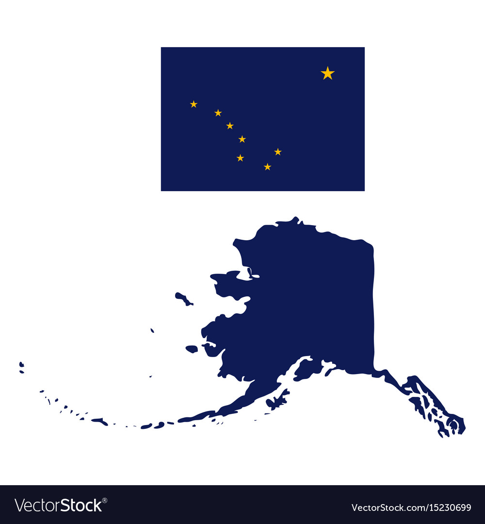 Alaska flag and state map Royalty Free Vector Image