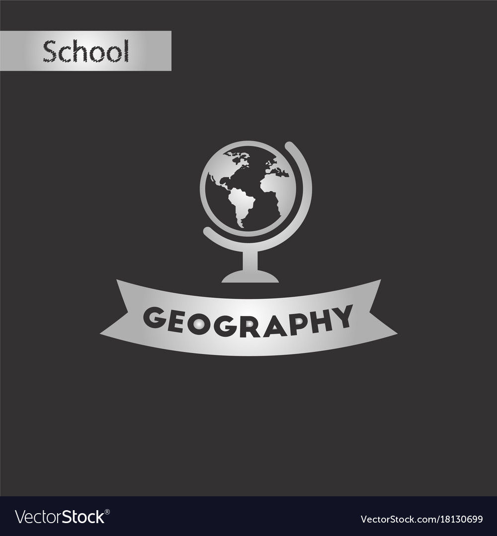 Black and white style icon geography lesson