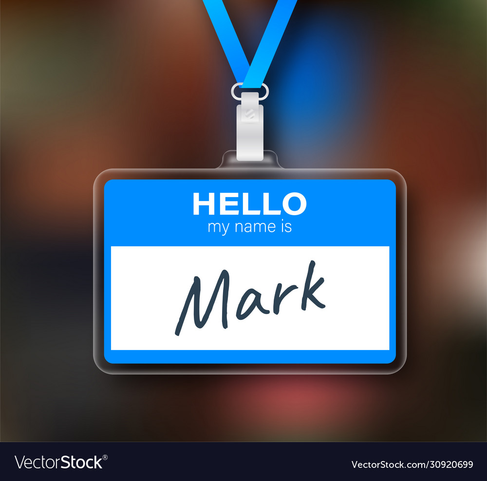Blue hello my name is label sticker on white