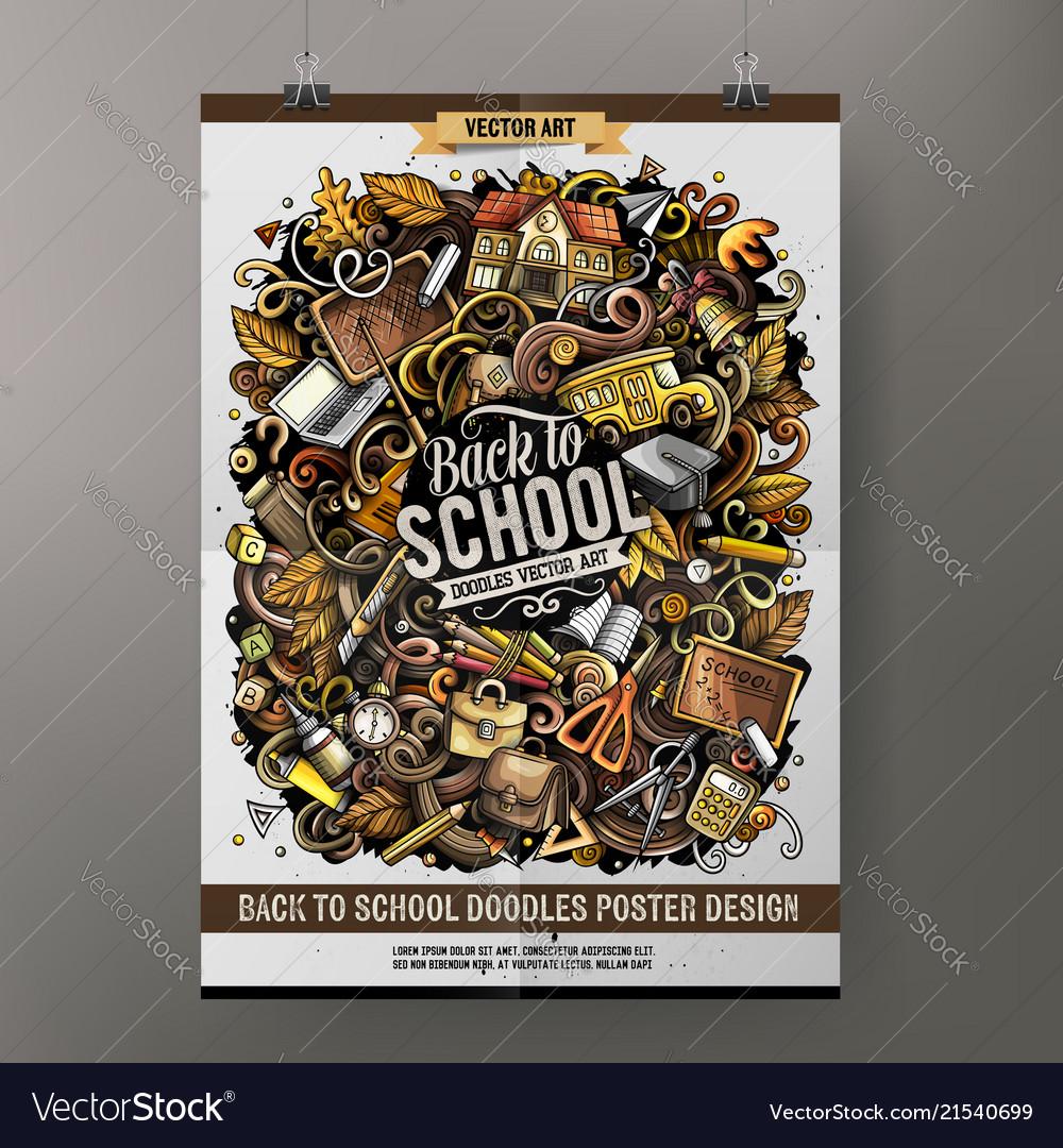 Cartoon hand drawn doodles school poster design