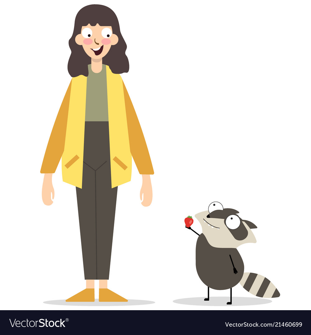 Caucasian girl and raccoon