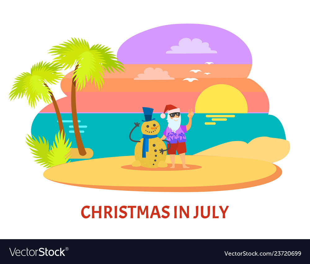 Christmas In July Clipart Free.Christmmas In July On Beach With Sunset