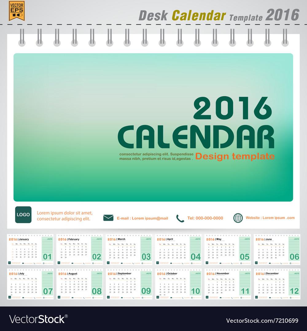 desk calendar 2016 modern green concept royalty free vector