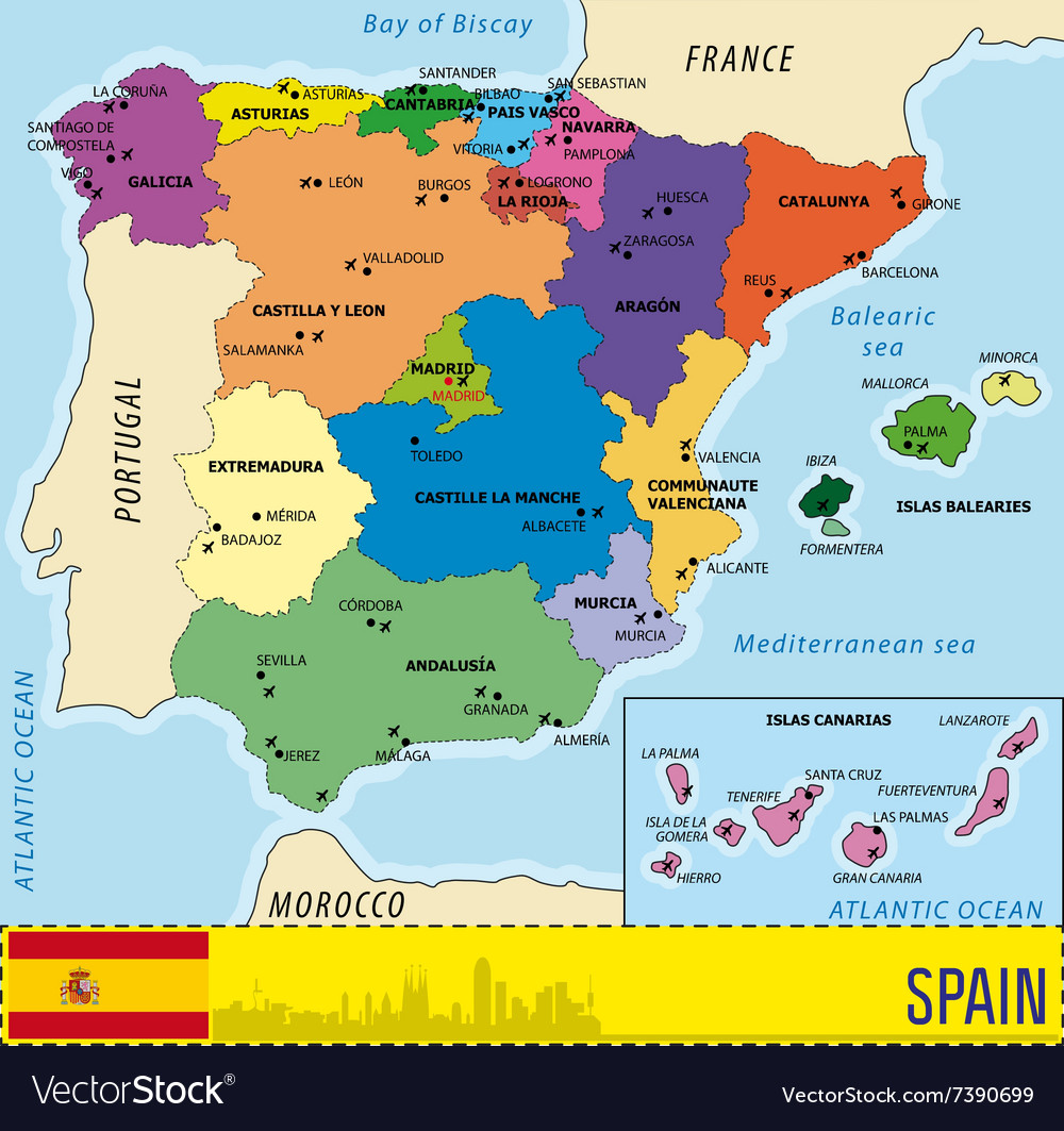 Map Of Spain Almeria.Detailed Map Of Spain With All Regions And With Ai