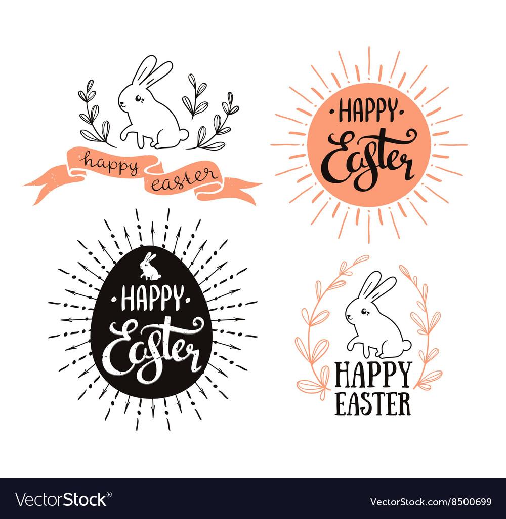 Easter set with lettering sunburst and rabbit