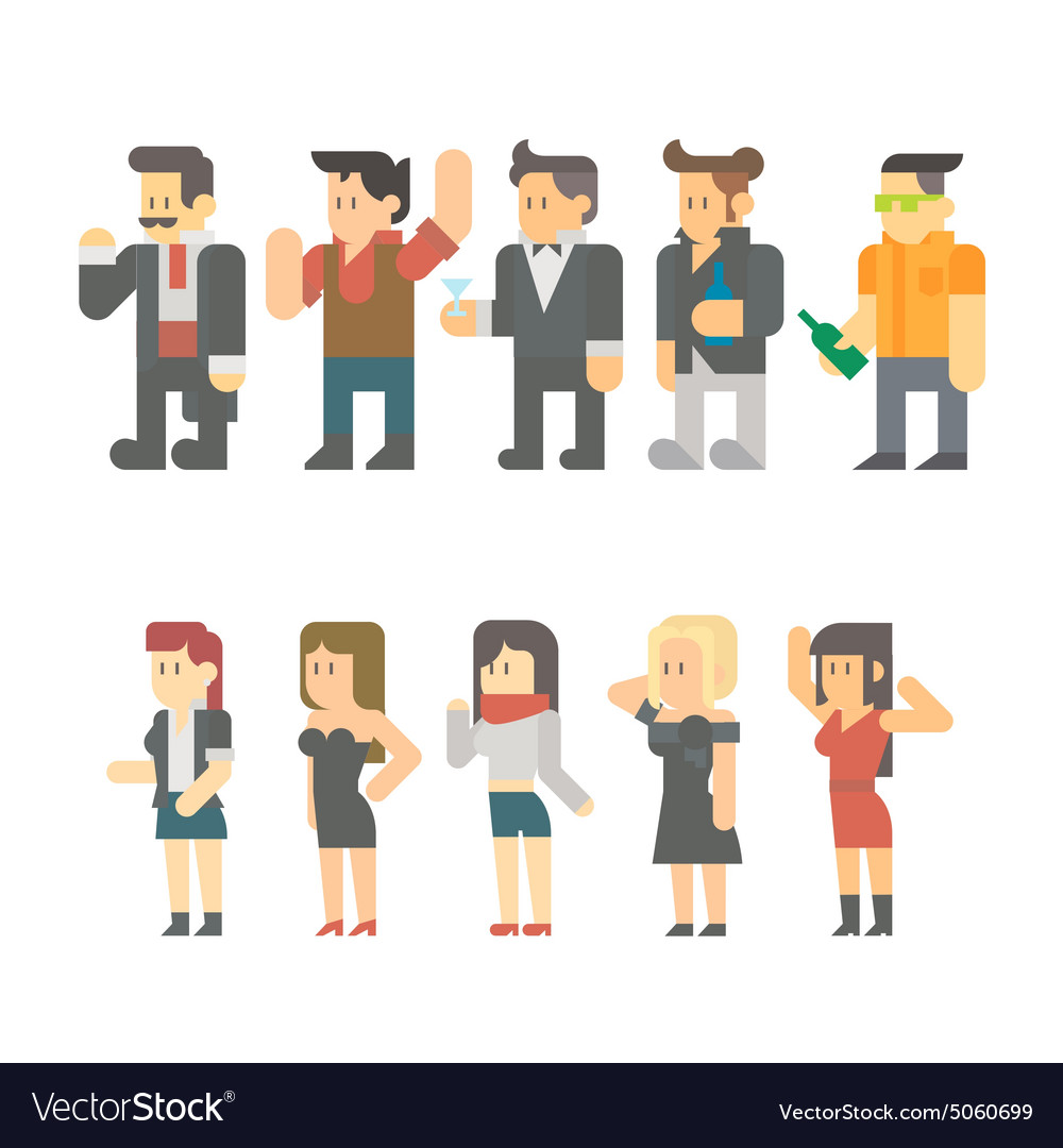 Flat design of party people set