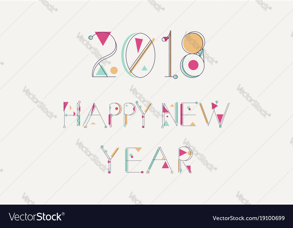 Happy new year 2018 color line quote greeting card