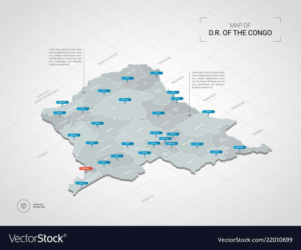 Isometric democratic republic of the congo map Vector Image