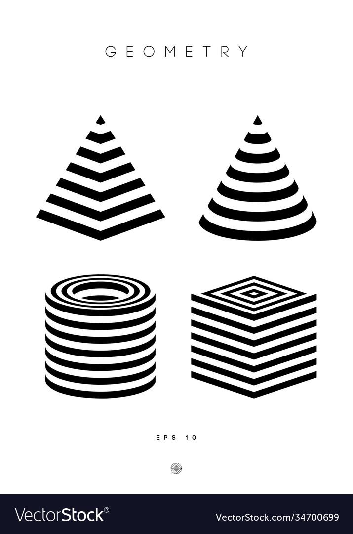 Optical illusion pyramid cylinder stripes