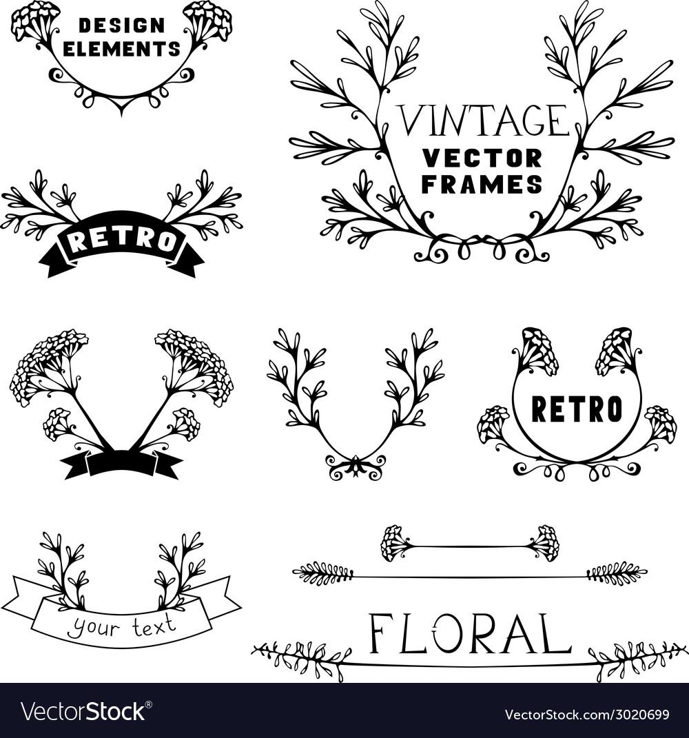Set Of Simple Floral Design Elements Vector Image