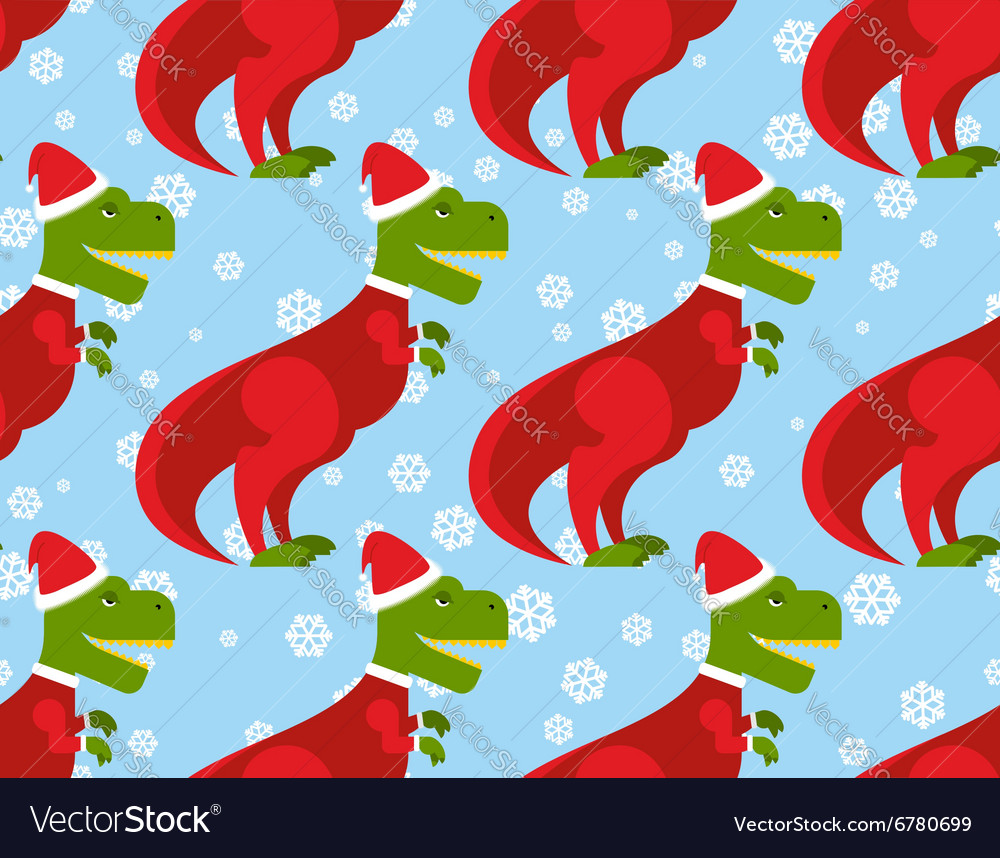 T Rex Christmas.T Rex Santa Claus Seamless Pattern Christmas