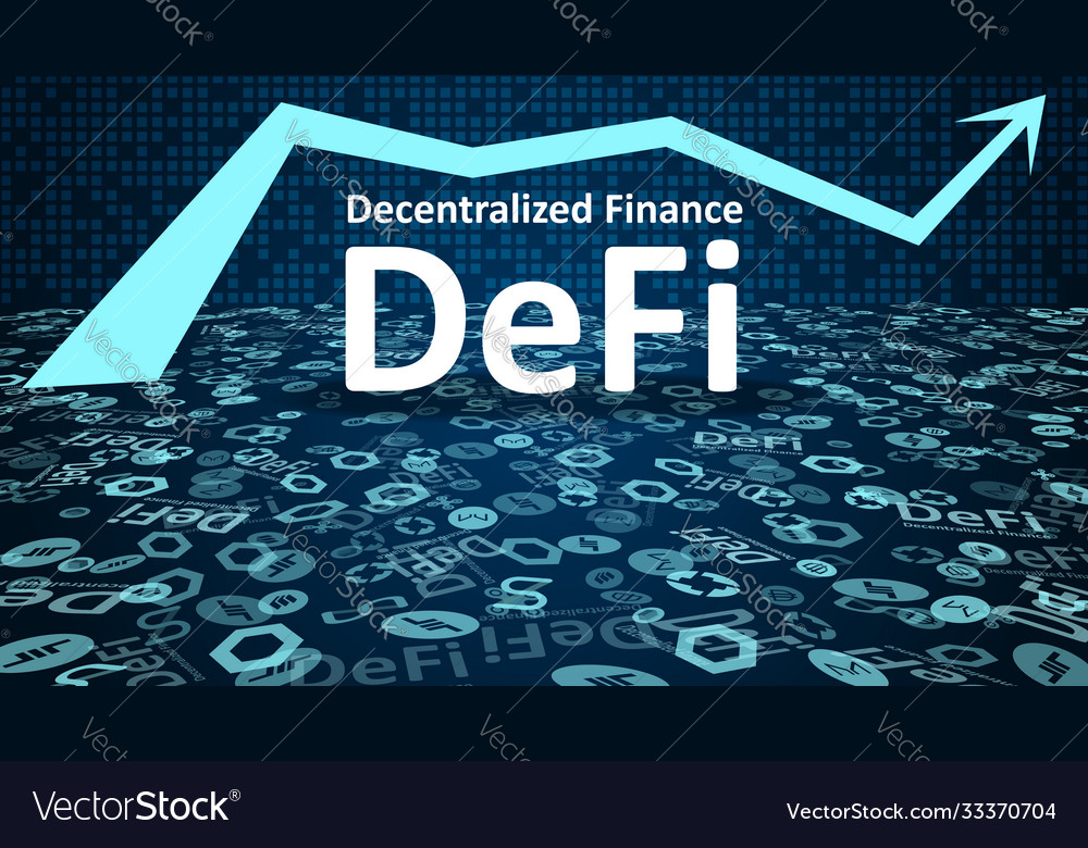 Defi - decentralized finance with altcoin logos