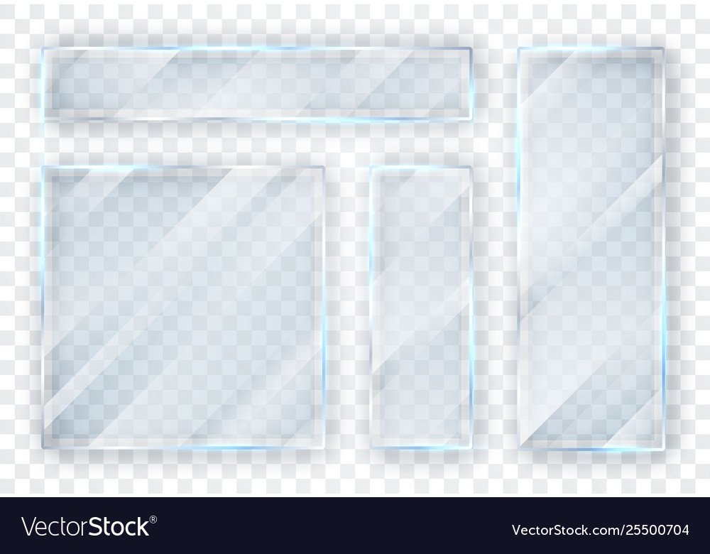 Glass plates set glass banners on transparent