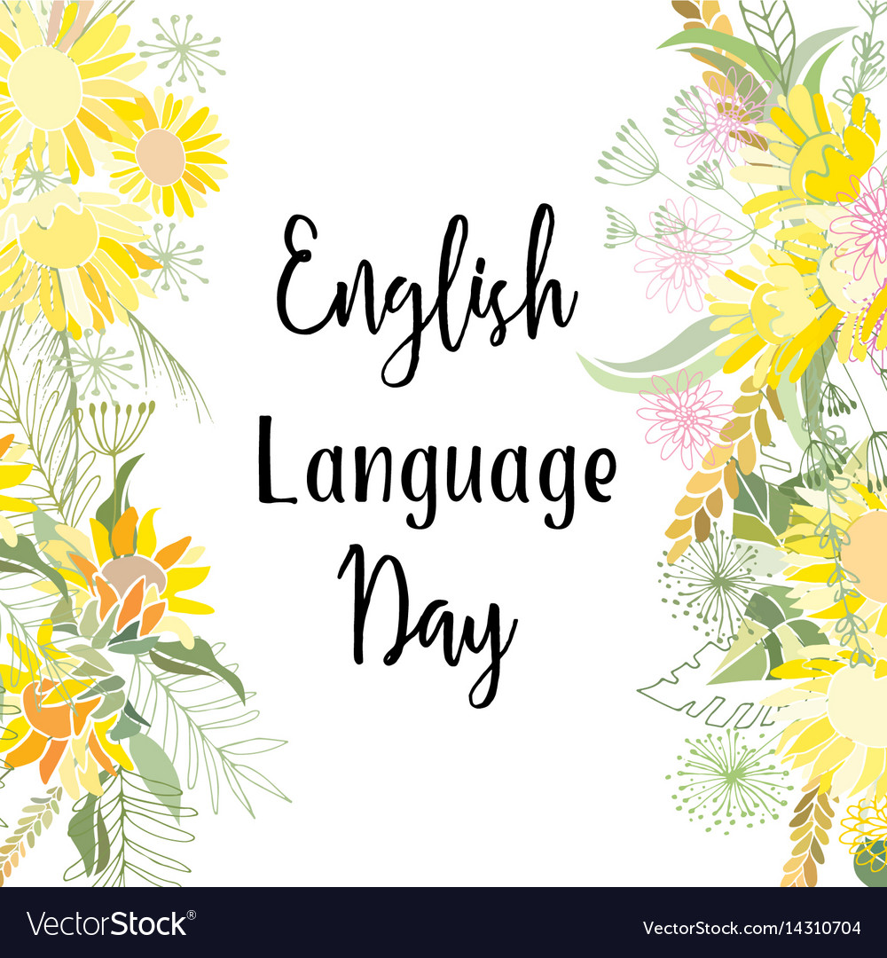 Greeting card of the english language day vector image m4hsunfo
