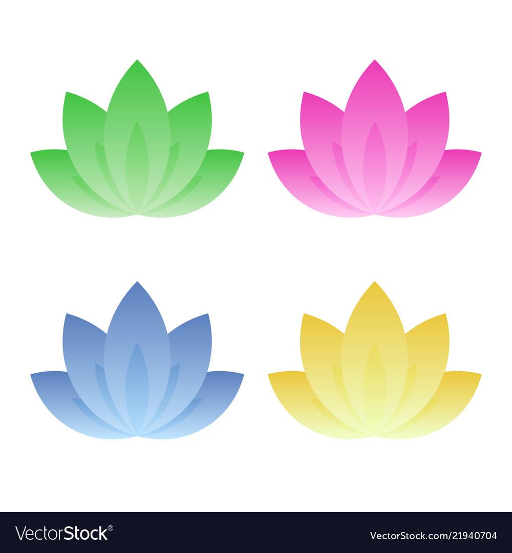 Lotus icon set on white background