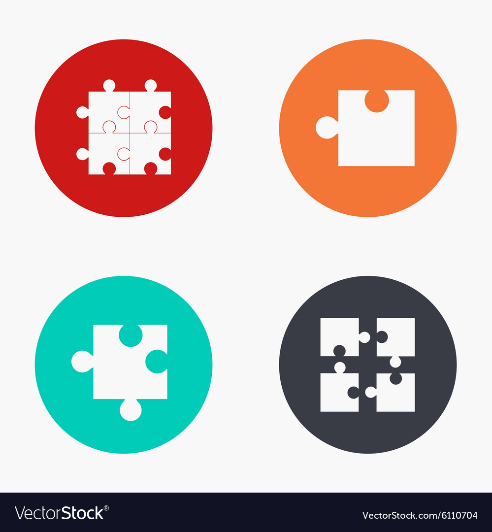 Modern puzzle colorful icons set