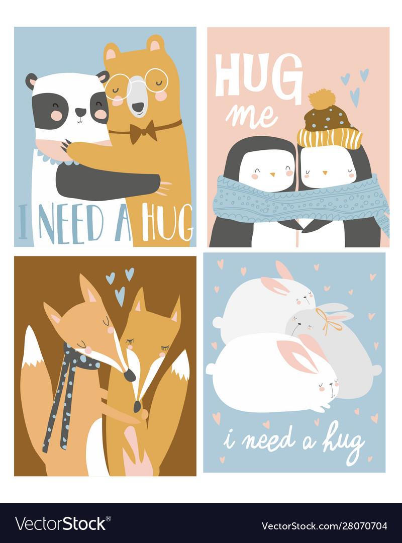 Set colored cartoon animals hugging i need a
