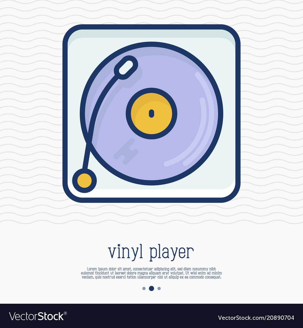 Vinyl player record thin line icon