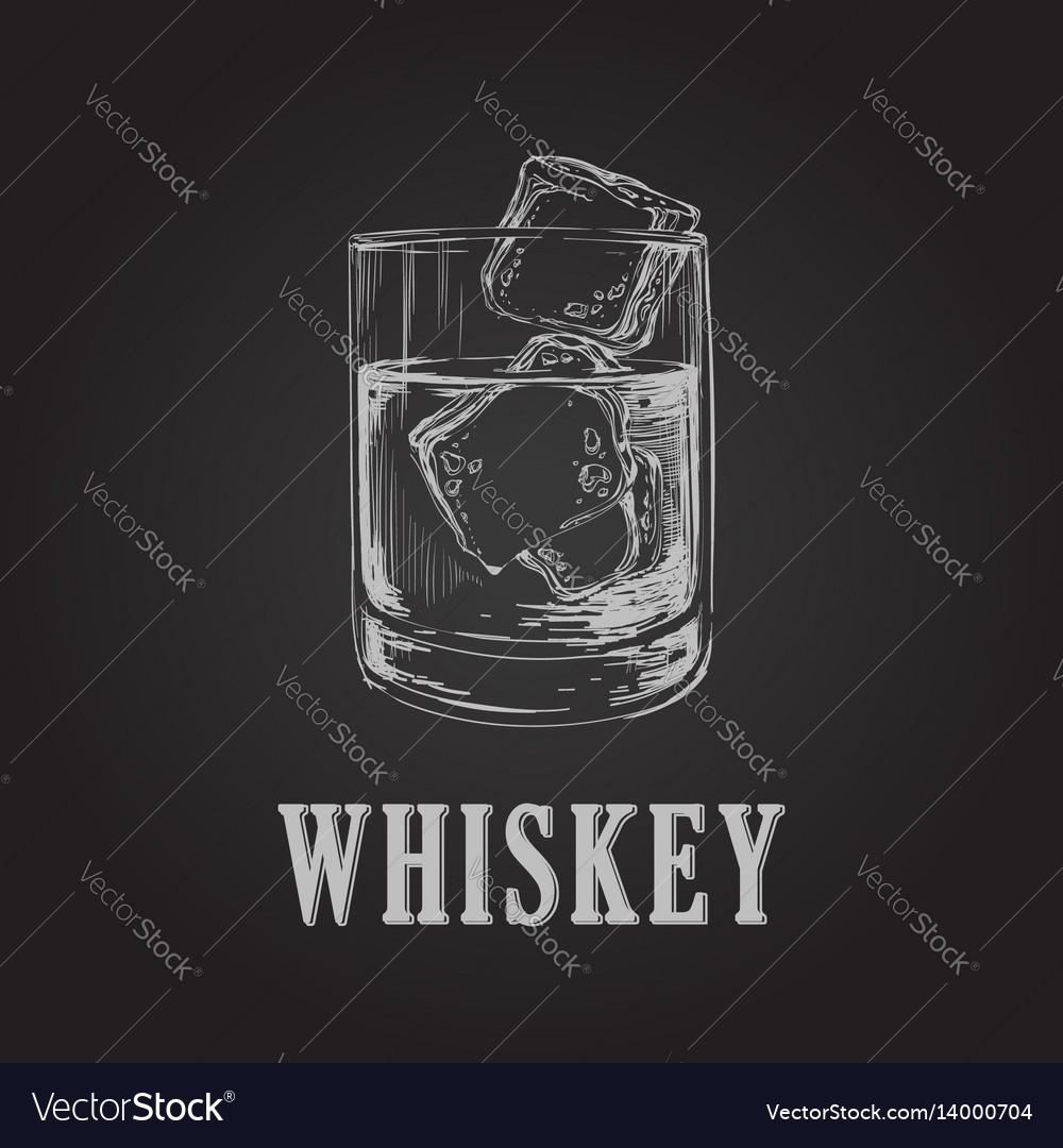 Whiskey glass hand drawn drink