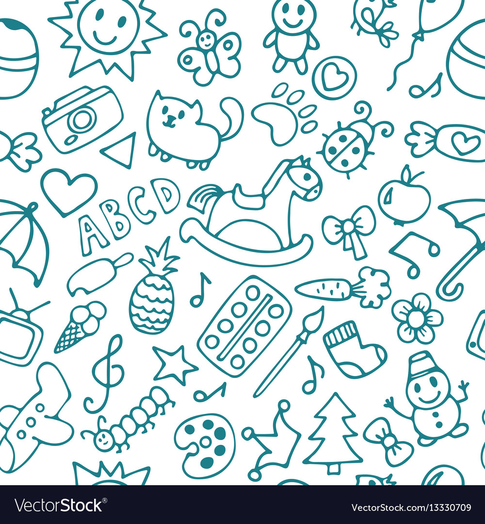 Background for little boys and girls hand drawn vector image