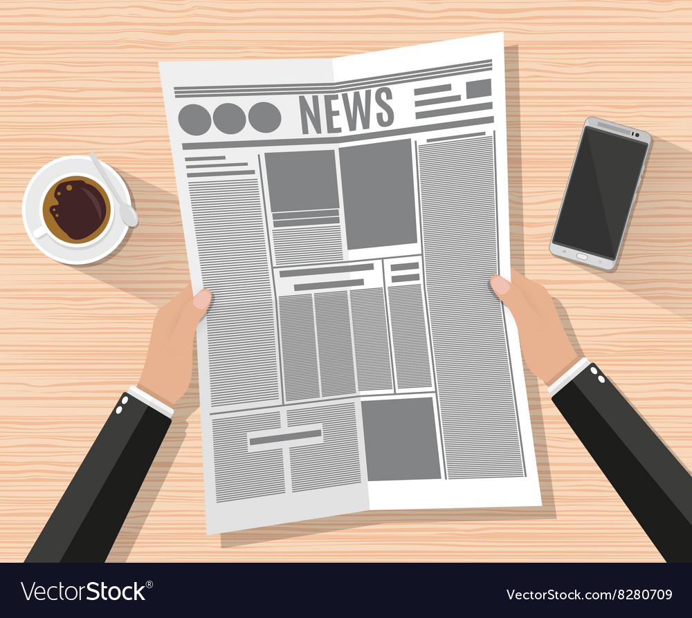 Cartoon businessman hand holding newspaper