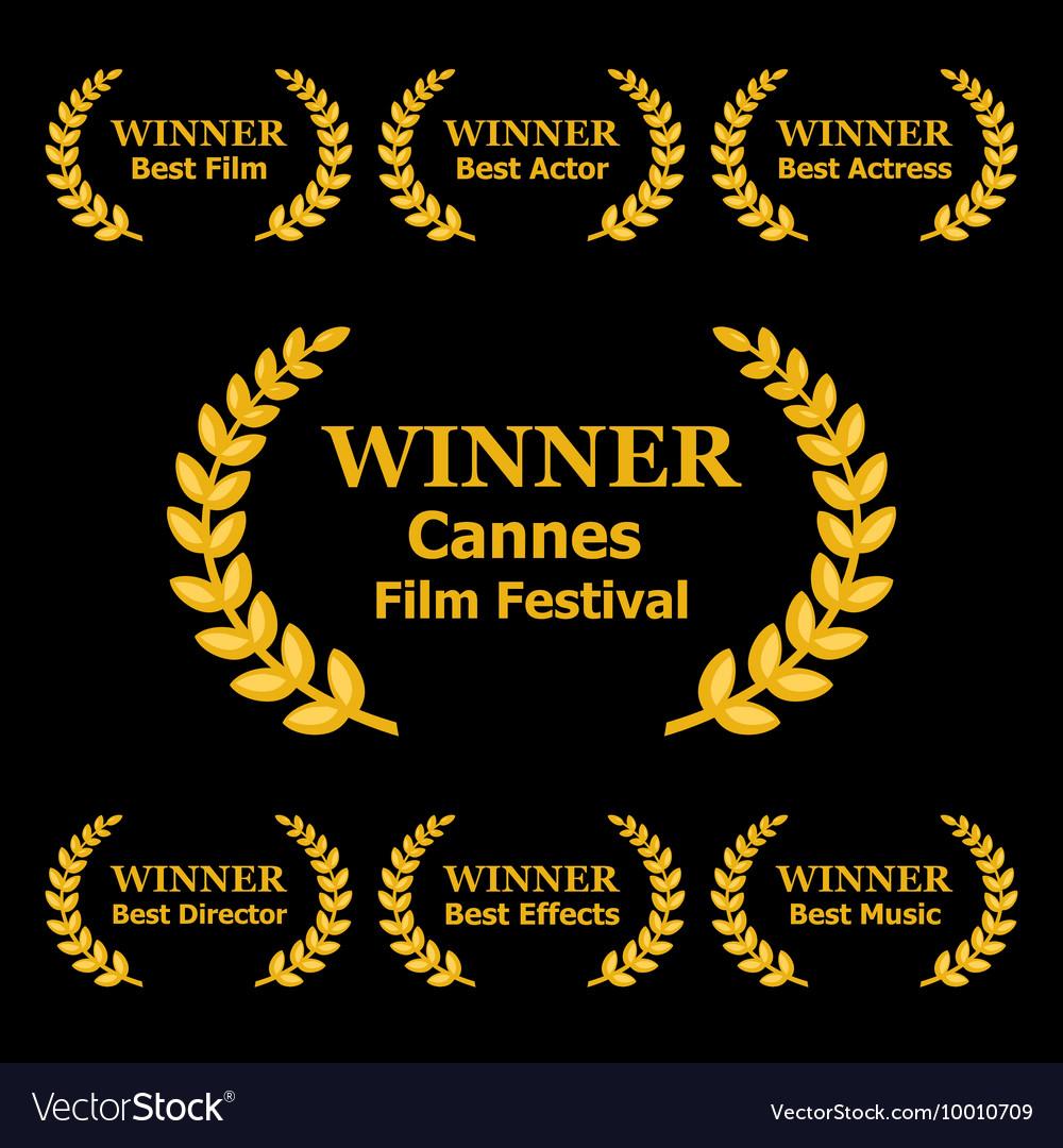 Film Awards Winners Laurels on Black Background vector image