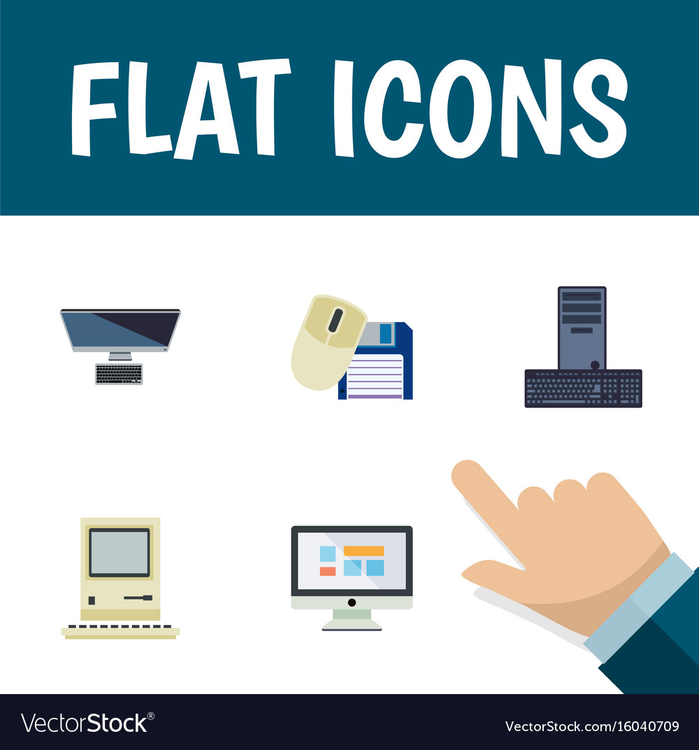 Flat icon laptop set of pc computer mouse