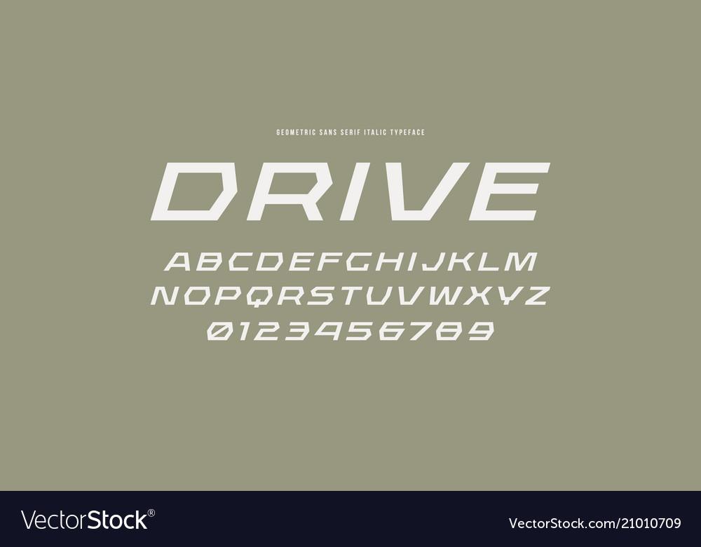 Geometric sans serif italic font in racing style