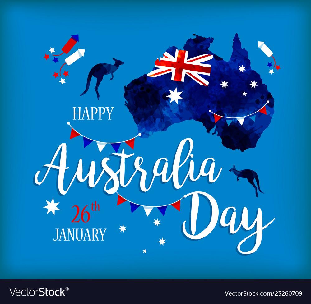 Happy australia day lettering map of australia