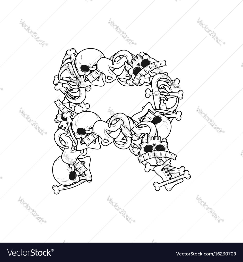 Letter r skeleton bones font anatomy of an Vector Image