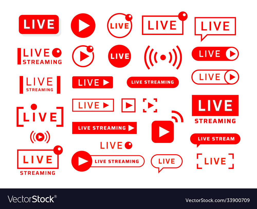 Live stream icons video broadcast and translation