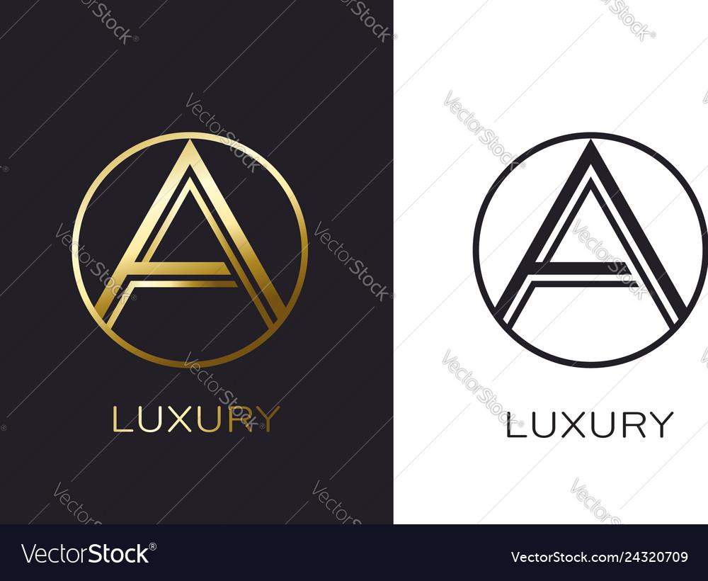 Logo a monogram gold letter seal mockup elegant