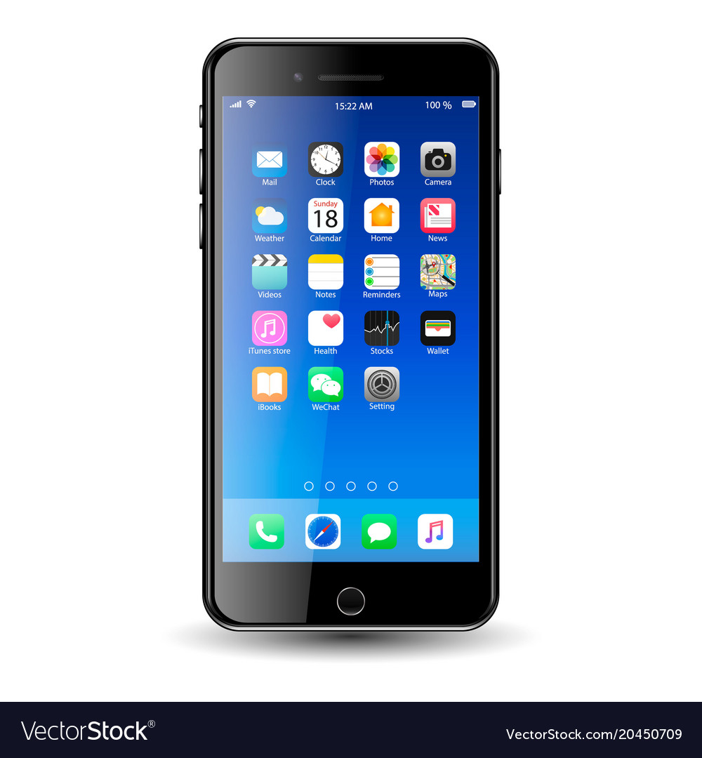 Mobil phone with icons vector image
