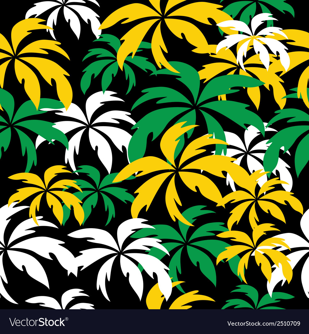 Palm trees in Jamaica colors Seamless background Vector Image