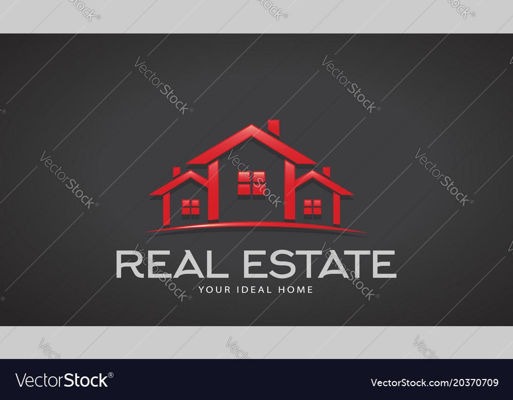 Red real estate houses logo design