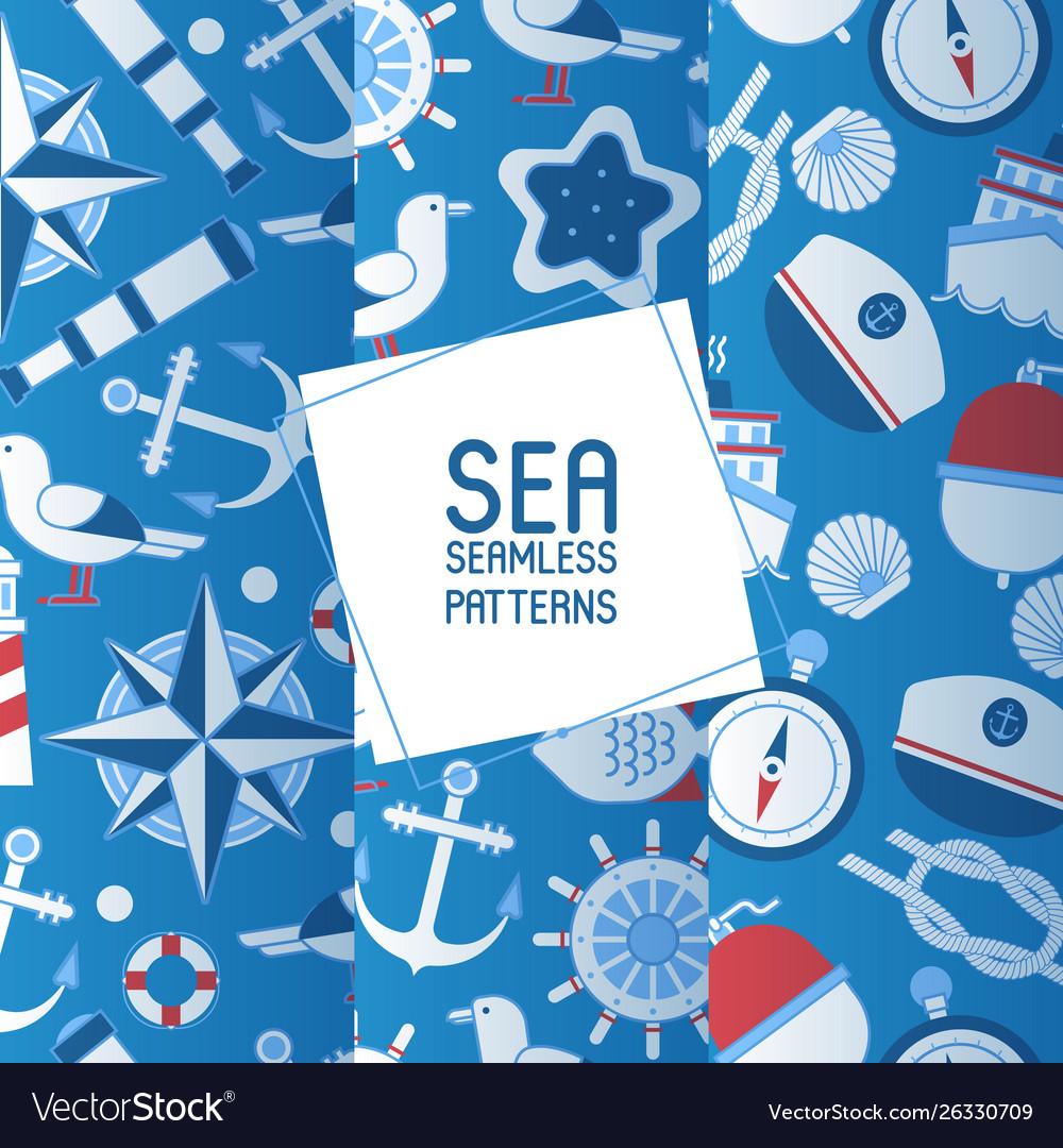 Sea adventure set seamless patterns