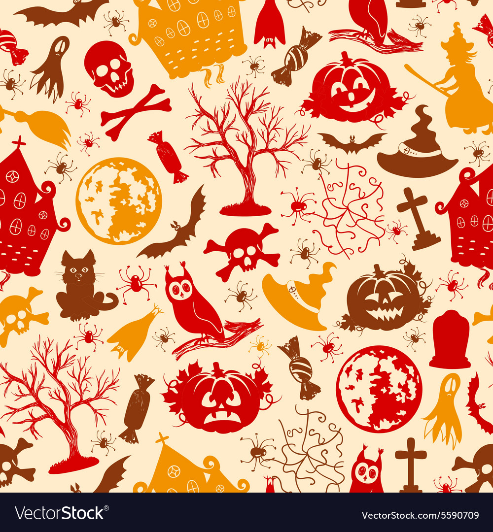 Seamless drawing icons for Halloween