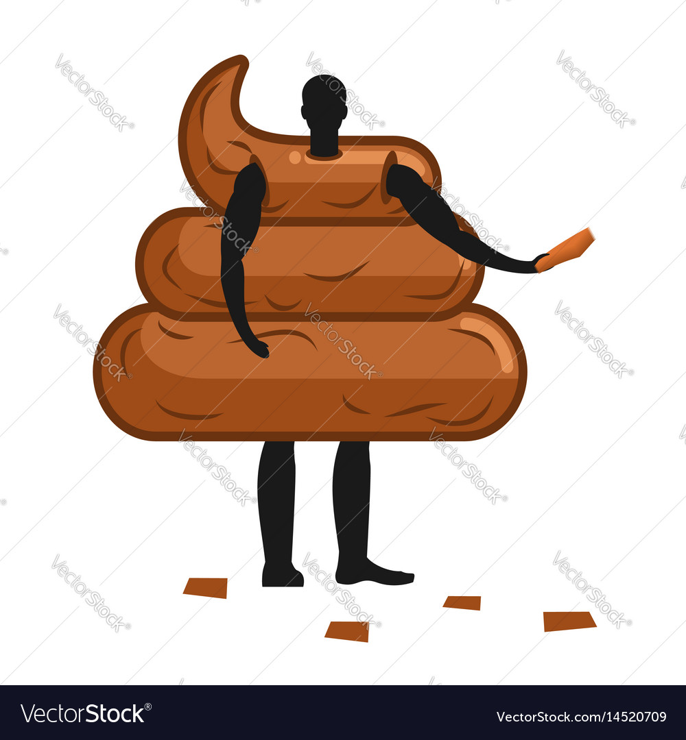 Shit mascot man promoter male in turd costume vector image