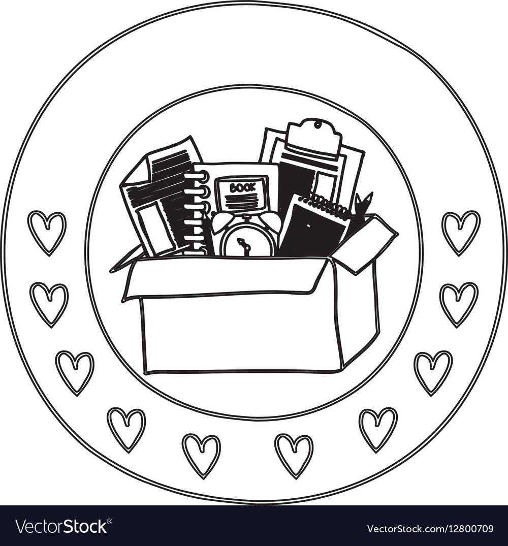 Silhouette circular border with hearts and box