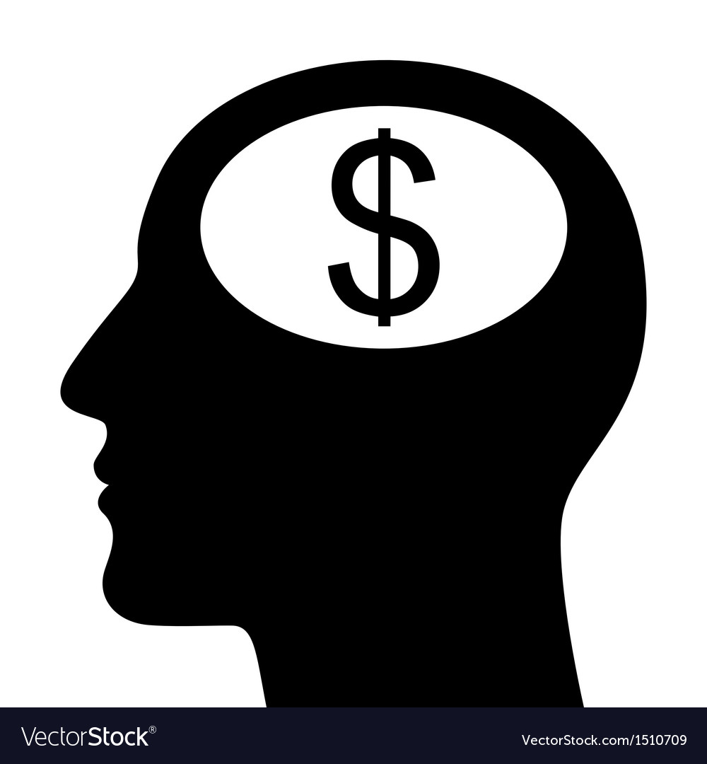 SIlhouette of head with dollar sign