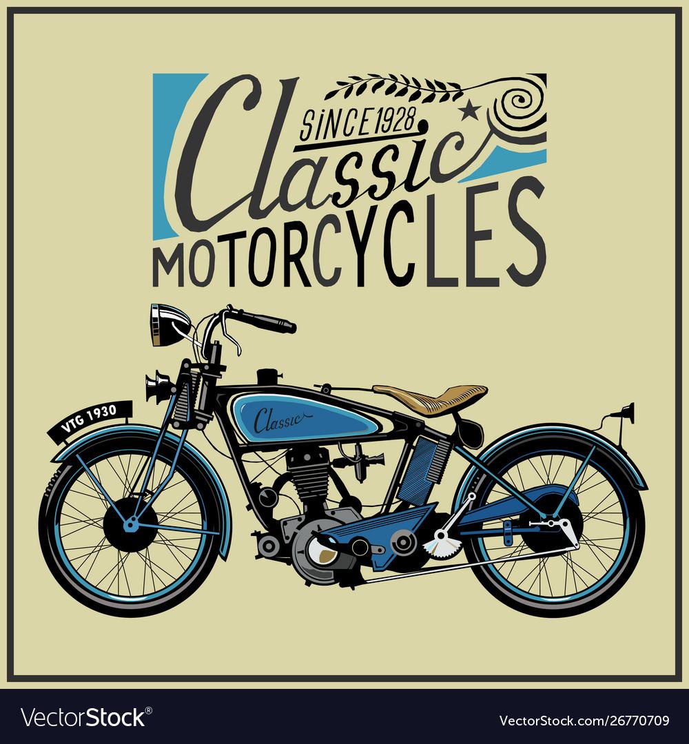 Vintage motorcycle in color eps old
