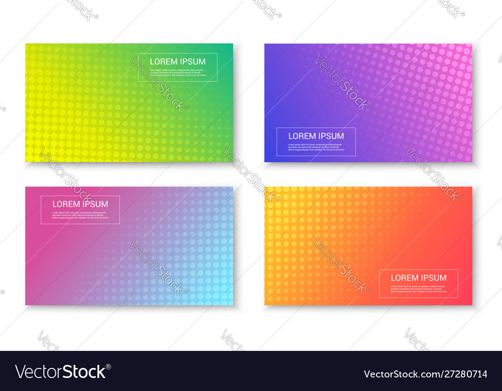 Abstract bright colorful trendy banners set