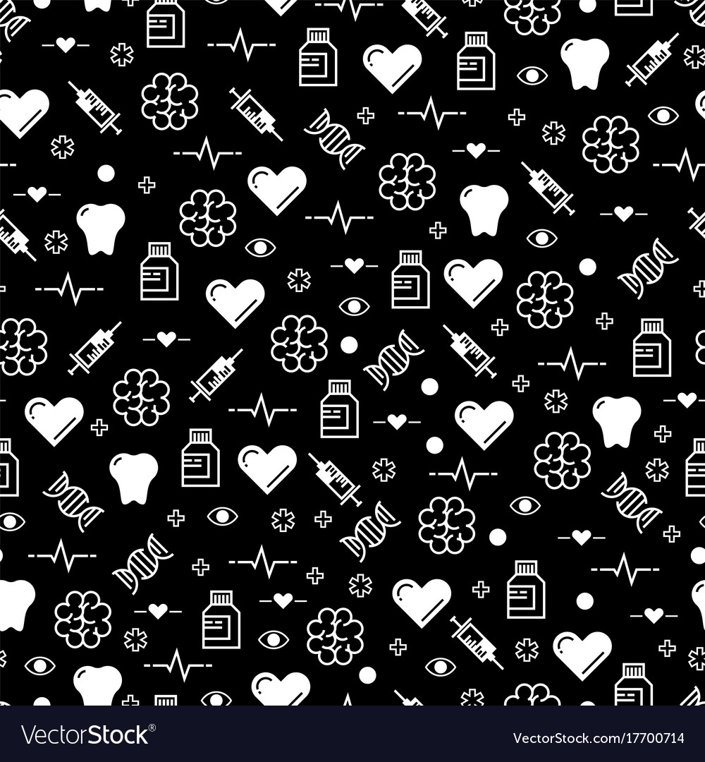 Black and white medicinal seamless pattern design