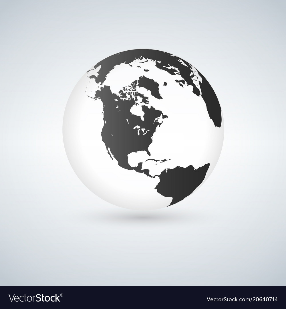 Globe icon with smooth shadows and black map of