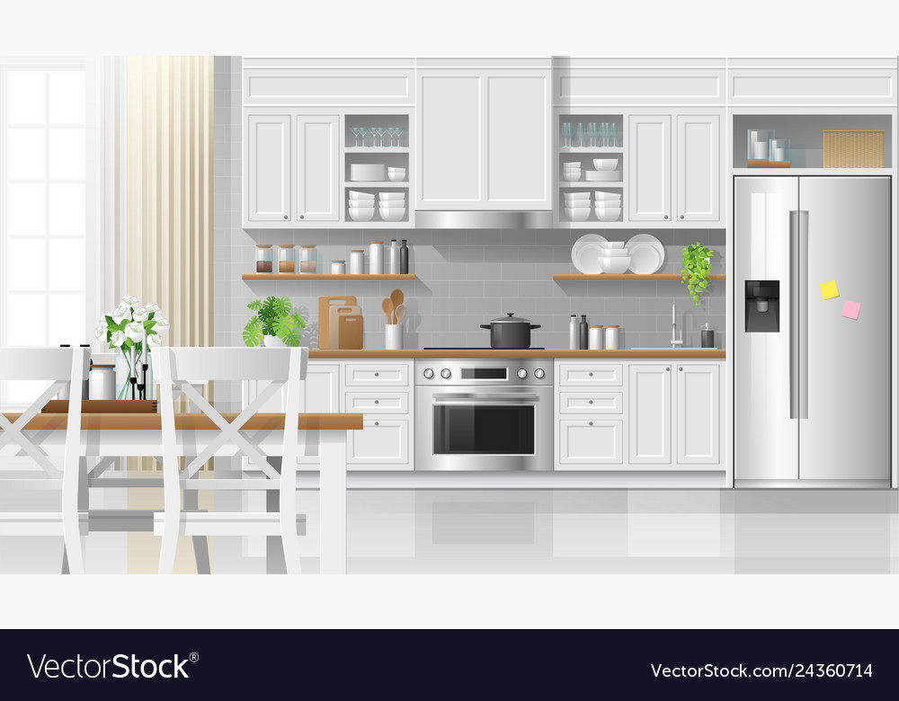 Interior Kitchen Background In Modern Rustic Style