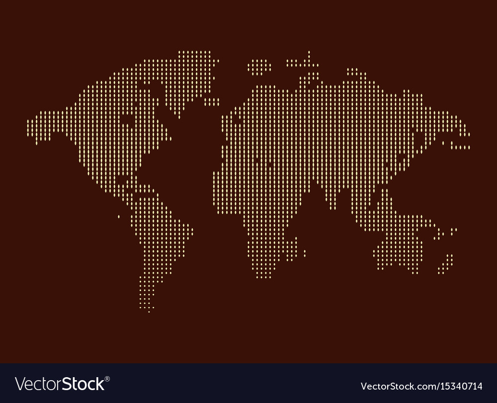 Isolated brown color worldmap of dots on white
